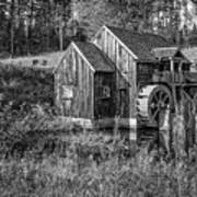 Old Grist Mill In Vermont Black And White Art Print