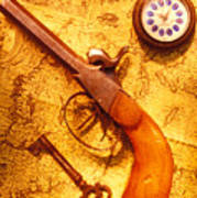 Old Gun On Old Map Art Print by Garry Gay
