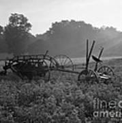 Old Hay Baler In Misty Field Art Print