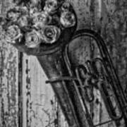 Old Horn And Roses On Door Black And White Art Print