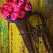 Old Horn And Roses On Door Art Print