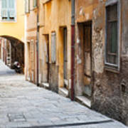 Old Houses On Narrow Street In Villefranche-sur-mer Art Print