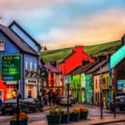 Old Irish Town The Dingle Peninsula At Sunset Art Print