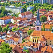 Old Ljubljana Cityscape Aerial View Art Print