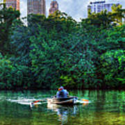 Old Love And Central Park Lake Art Print