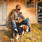 Old Man And The Beagle Pups Art Print