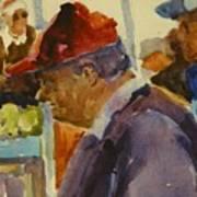 Old Man At The Market Art Print