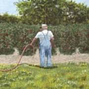 Old Man In Garden Art Print
