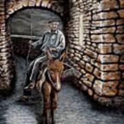 Old Man On A Donkey Art Print