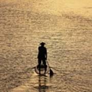 Old Man Paddling Into The Sunset Art Print
