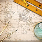 Old Map And Navigational Objects. Art Print by Richard Thomas