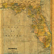 Old Map Of Florida Vintage Circa 1893 On Worn Distressed Parchment Art Print