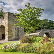 Old Medieval Bridge At Warkworth Art Print