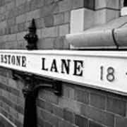 old metal victorian sign for warstone lane jewellery quarter Birmingham UK Art Print