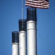 Old Mill Smoke Stacks With Flag Art Print