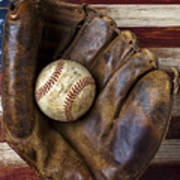 Old Mitt And Baseball Art Print by Garry Gay