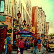 Old Montreal Cafes Art Print