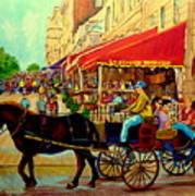 Old Montreal Restaurants Art Print by Carole Spandau