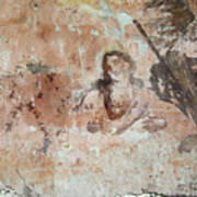 Old Mural Painting In The Ruins Of The Church Art Print