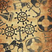 Old Nautical Parchment Art Print