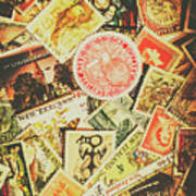 Old New Zealand Stamps Art Print