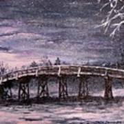 Old North Bridge In Winter Art Print