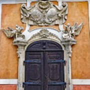 Old Ornate Door At The Cesky Krumlov Castle At Cesky Krumlov In The Czech Republic Art Print