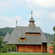 Old Orthodox Wooden Church On Hill Art Print