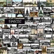 Old Paris Collage Art Print by Janos Kovac