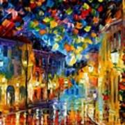 Old Part Of Town - Palette Knife Oil Painting On Canvas By Leonid Afremov Art Print