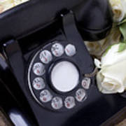 Old Phone And White Roses Print by Garry Gay