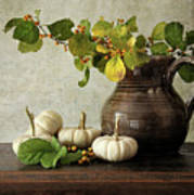 Old Pitcher With Gourds Art Print