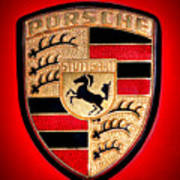 Old Porsche Badge Art Print