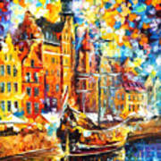 Old Port - Palette Knife Oil Painting On Canvas By Leonid Afremov Art Print