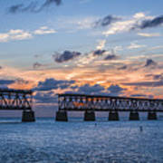 Old Rail Bridge At Florida Keys Art Print