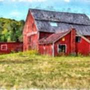 Old Red Barn Abandoned Farm Vermont Art Print