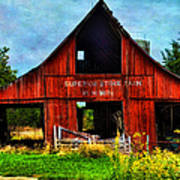 Old Red Barn And Wild Sunflowers Art Print
