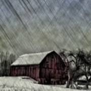Old Red Barn In Winter Art Print