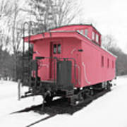 Old Red Caboose Square Art Print