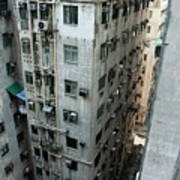 Old Run-down Concrete High-rise Apartment Buildings In Kowloon Art Print