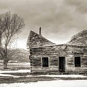 Old Rustic Log Cabin In The Snow Art Print by Dustin K Ryan
