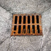 Old Rusty Street Grate Near The Sea In Cres Art Print