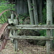 Old Rusty Wagon Wheels And Weathered Fence Art Print