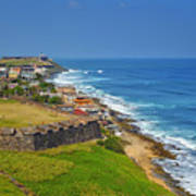 Old San Juan Coastline Print by Stephen Anderson
