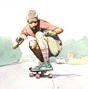 Old School Skater Art Print