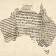 Old Sheet Music Map Of Australia Map Art Print by Michael Tompsett