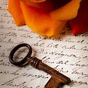 Old Skeleton Key On Letter Art Print