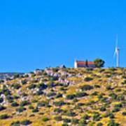 Old Stone Church And Green Energy Plant Art Print