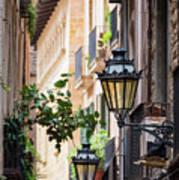 Old Street Light In Barcelona, Spain Art Print