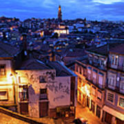 Old Town Of Porto In Portugal At Dusk Art Print